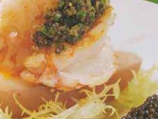 Queues langoustines tapenade caviar Osciètre