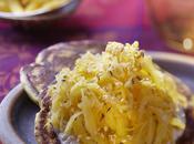 Courge spaghetti blinis lentilles
