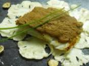 Cabillaud rôti beurre salé, émincé chou-fleur l'huile noisette pâte spéculoos