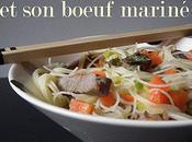 Vermicelle riz, petits légumes boeuf mariné.
