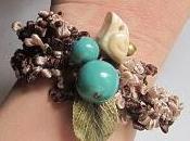 Bracelet ruban avec oiseau {marron turquoise}