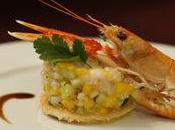 Tartare Langoustines, Mangue Papaye vertes, sauce Passion
