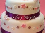 Gâteau fleuri pour baptême Romy