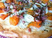 Pizza potiron, lardons, oignons