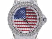 Montre drapeau anglais américain bracelet plastique transparent