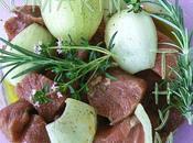 Brochettes Boeuf, Chorizo Petits Légumes Marinés