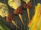 Brochettes saint Jacques jambon Parme asperges juliennes légumes poêlées