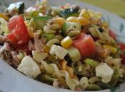 Salade pâtes thon, maïs tomates cerises