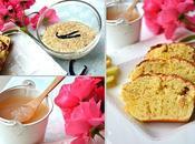 Petit déjeuner gourmand Cake brioché pomme-citron, Porridge vanille-sésame lait d'amande, Gelée pomme-poire