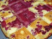 Moelleux coco, fromage blanc framboises