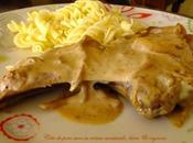 Côte porc crčme moutarde, bičre oignons