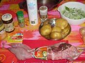 Lapin four, pommes terre poireaux