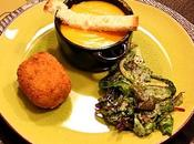 Velouté potiron, parmesan lardons Croquette crevettes Salade mâche l'huile noix crème balsamique