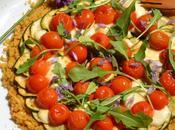 Socca-pizza légumes saison, mozzarella roquette