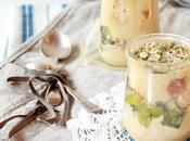 gâteau l'orange dans petits pots kiwis parfumés matcha garnis avoine eclats d'amandes
