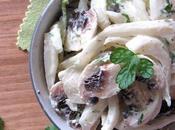 Salade fenouil champignons Paris, sauce yaourt persillée