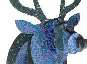 Trophée tête cerf carton Bleu pailleté