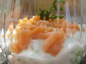 Verrine fraîcheur légère concombre/saumon fumé/fines herbes