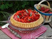 Tarte fraises biscuitée, crème verveine