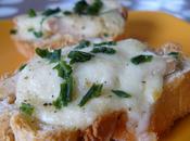 Crostini poulet, mozzarella ciboulette