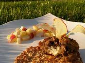 ingrédients Muffin surprise d'aubergine tuile flocons d'avoine mozzarella, servis avec salsa fraîcheur pomme-mozza