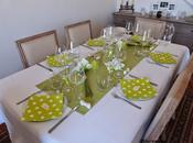 Table fraîcheur vert anis-blanc transparence Fresh table green, white glass