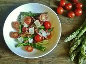Salade tiède d'asperge tomates cerises, lardons Parmesan