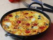 Tortilla tomates cerise ,olives noires feta