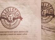livres Marc Lévy recyclés serviettes sandwicherie