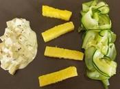 Tagliatelles courgettes, frites polenta tofu moutarde