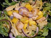 Macaronis salade, poulet mangue.