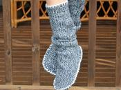 chaussons chaussettes dans pull recycler
