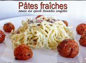 Pâtes fraîches, sauce jambon speck, oignons tomates confites