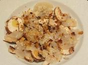 Emincé Saint-Jacques champignons Paris, châtaignes rapées, pâte citron genèse d'une recette)