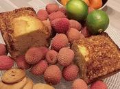 Cake zestes d'oranges, cognac, Pralin accompagné Sorbets citron vert gingembre Rhum sorbet Lychee