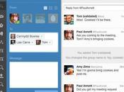 Twitter Facebookise avec conversations groupe partage vidéo mobile