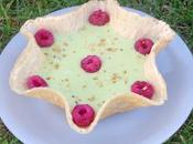 Coupelles gaufrette, crème pâtissière pistache framboises fraîches