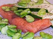Papillote saumon fèves courgettes