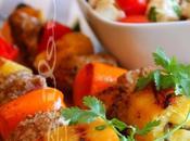~Brochettes porc, l'ananas poivrons~