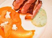 Magret canard, purée carottes l'orange, yaourt grec roquette, pop-corn, tuile parmesan