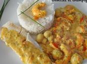 Filets merlan sauce crémeuse tomates, crevettes champignons