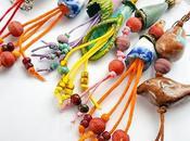 Expérimentation avec coton ciré Boucles d'oreilles bijoux artisanaux textiles céramique