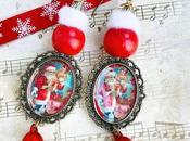 Total look Réveillon Noël Création bijou boucles d'oreilles père noël vintage pour aller avec Ugly sweater