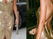 Emily Ratajkowski fait encore: robe dorée Paris mettant silhouette