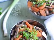 Pôelée patate douce champignons l'ail, gingembre ciboule
