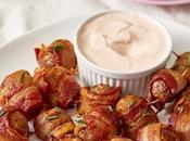 Super bowl: bouchées pommes terre enrobées bacon trempette épicée crème sure