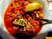Soupe repas sorgo, pois chiches, lentilles rouges boulettes parfums marocains