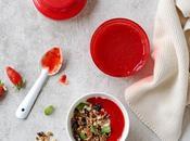 Coulis tout simple fraises, granola yaourt