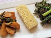 Mini-navets, épinards d'Asie, fleurs choux asperges, pour assiette printanière (Vegan)