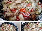 Salade riz, avocat, tomates poulet